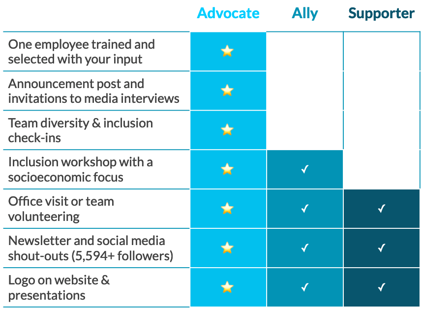Chart of 2017 sponsorship levels—advocate, ally, supporter